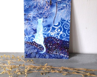 Blue blue evening, blank post card, indigo blue, cat, night moon, glossy finish 4 x 6