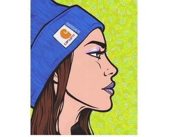 Knit Hat Girl Print