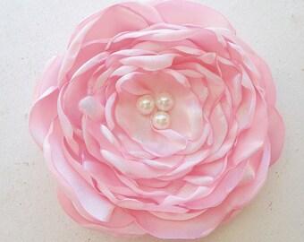 Light Pink Flower Hair Accessory.brooch.pin.Hair Clip.Bridesmaid.satin flower.Wedding.Corsage.pastel pink.peony pink.petal pink.fascinator