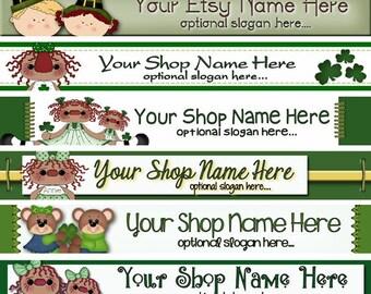 Premade ETSY Shop Banner - _Etsy Shop Design - Shop Icon - Children - St Patrick's Day - Shamrocks Raggedy Annie Clovers