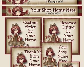 Premade Etsy Banner Shop Set - Etsy Shop Banner - SHOP ICON - Shop Profile Photo - Cute Primitive Raggedy Annie
