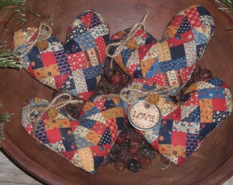 4 Primitive  Rustic Country Mini Faux Patchwork LOVE Valentine February 14 Fabric Heart Bowl Fillers Ornies Ornaments Tucks Mini Pillows