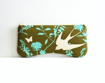 Clutch Purse, Zipper Pouch, Women and Teens, Swallow Study in Forest, Joel Dewberry Bungalow