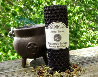 Belladonna's Banishing Beeswax Spell Candle - Deflect Negative Energies, Hex Breaking, Protection, Witches Shield, Stop Gossip, Pagan, Wicca