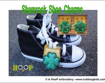 SHAMROCK2 Shoe Charms Tags Machine Applique Embroidery design 4x4 5x7 ITH In The Hoop St. Patrick Day