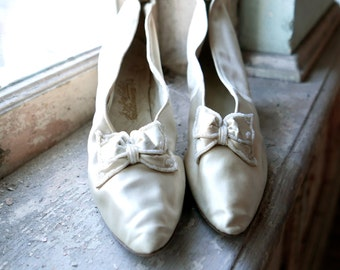 J & J Slater Ivory Satin Wedding Shoes