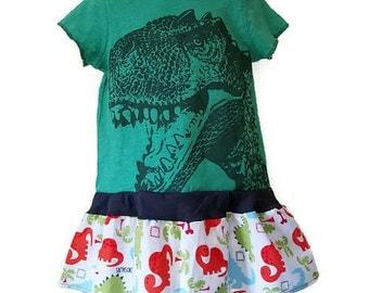 T-Rex Dinosaur Handmade Dress or Top (GREEN), T-REX, 2T, Toddler Dress by We Wear What We Want!
