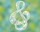 Floral Musical Clef Sign Digital Download DIY to Cut Template