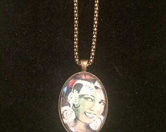 Josephine Baker Large Oval Pendant Necklace w/ Vintage Finish