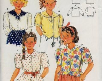 Unused BURDA Master Pattern 5164 GIRLS' BLOUSE Size 4-10 Sailor Collar Front Button Sewing