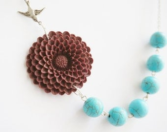Turquoise Necklace,Turquoise Jewelry,Maroon Flower Necklace,Bridesmaid Jewelry Set,Maroon Necklace,Bridesmaid Gift,Beaded Necklace,Gift Her