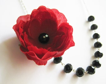 Statement Necklace,Red Poppy Necklace,Black Necklace,Bridesmaid Jewelry,Poppy Necklace,Bridesmaid Gift,Wedding Jewelry,Bib Necklace,Gift