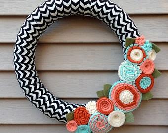 Spring Wreath, Summe Wreath, Autumn Wreath, Felt Flower Wreath, Holiday Wreath, Front Door Wreath, Felt Flowers,Chevron Wreath,Salmon Wreath