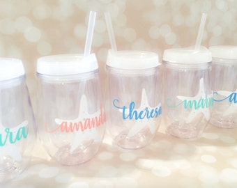 Stemless Acrylic Wine Tumbler - Bev2go - Tumblers with Lid and Straw - Starfish Tumbler - Custom - Personalized - Monogrammed Tumbler