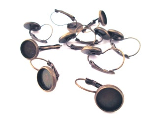 10mm bezel setting Earring Hooks, brass plated  leverback earrings, C132