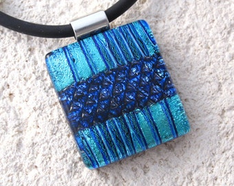 Blue Necklace, Fused Glass Pendant, Contemporary Pendant, Dichroic Necklace, Fused Glass Jewelry, Dichroic Jewelry, OOAK, 100516p107