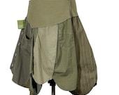 DrabLove: Khaki Upcycled Asymmetric Skirt