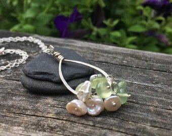 Prehnite and Keshi Pearl Cluster Sterling Silver Pendant Necklace - you pick chain length - green white freshwater pearl teardrop tear drop
