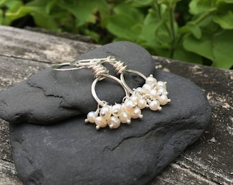 Freshwater Pearl Earrings, Sterling Silver, White Round Pearl, Wire Wrap Cluster Dangle, Handmade Jewelry, Wedding Bridal Bride Bridesmaids