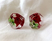 Vintage Midcentury 1950s Faceted Clear Lucite Plastic w/ Red Rose Flower Floral Green Leaves Screw Back Clip on Non Pierced Earrings