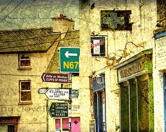 Co. CLARE Road Signs, Irish Town, N67, Cliffs of Moher, Beamish, Killarney, Lehinch, Lahinch, Quaint Ireland, Irish Pub Photo, Irish Decor