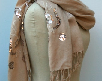Pashima style Bohemian scarf, vintage Indian embroidered sequins smaller Dupatta stole scarf women woven taupe scarf woman scarf beige BoHo