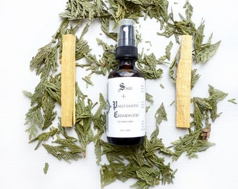 Sage + Palo Santo + Cedarwood Clearing Mist//Sage Spray//Gemstone infusion/Smokeless Smudge Spray//Yoga mat spray//Linen spray