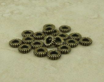 20 TierraCast 6mm Small Coiled Ring Bead or Connector Large Hole Bead > Brass Ox Plated LEAD FREE Pewter - I ship Internationally - 5595