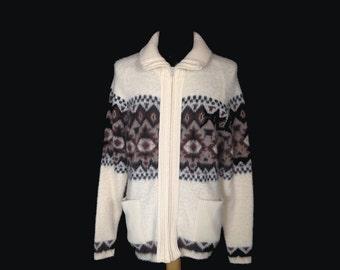 Vintage Mens Cardigan Sweater, 1970's, London Fog, Zip Front, White, Brown, Beige, Acrylic, Jacquard, Medium