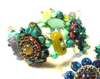 "The ""Back to couture"" collection, fantasy ""Floral"" Bracelet, green, blue, purple, pink,"