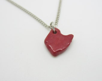 Small Red Ohio Necklace Glazed Ceramic on an 18 inch Silver Chain