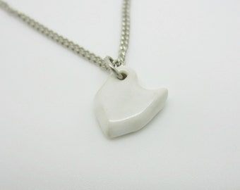 Small White Ohio Necklace Glazed Ceramic on an 18 inch Silver Chain