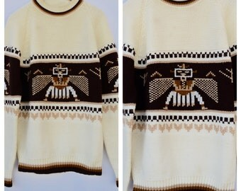 native american pullover sweater / large