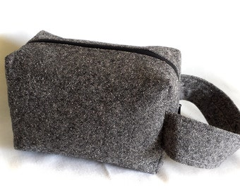 nubby grey eco box bag, unisex dopp kit, men's travel wooly case, boxy zipper toiletries pouch, medium size