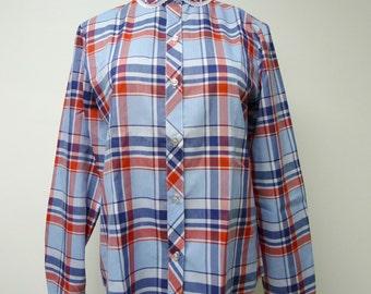 Koret City Blues . 70s plaid long sleeve button down shirt . size 10