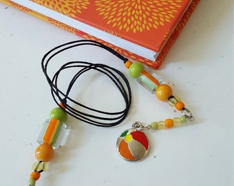 Beaded Bookmark Beach Ball / Orange And Green / Summer Reading / Glass Beaded Cord With Metal Charm/ Gift For Readers/ Journal Marker