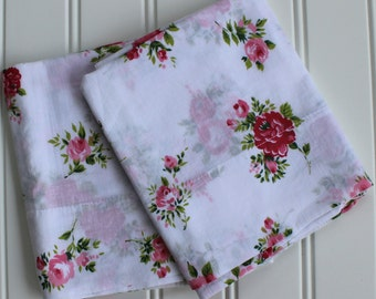 Vintage Pillow Cases - Pink Roses - Unused - New Old Stock - Standard Size - New Cottage Roses -Full Queen