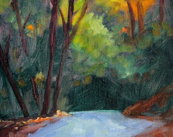Woodland Scene, Original Landscape, Oil Painting, Small 5x7 Canvas, Forest Road, Trees, Green Orange, Blue Road, Yellow Rural Scene, Country