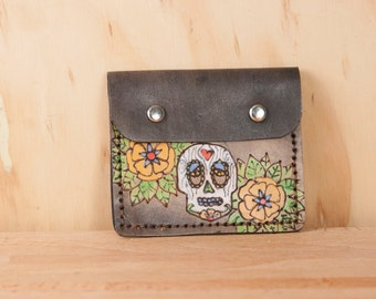 Front Pocket Wallet - Leather in the Walden pattern with Sugar Skull and flowers - Yellow, green and antique black