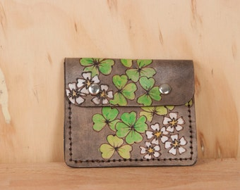 Front Pocket Wallet - Leather in the Lucky Pattern with shamrocks - White, green and antique black