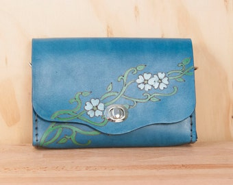 Leather Waist Purse - Small Leather Box Clutch in the Willow Pattern with flowers - Use as Bum Bag - Clutch - Shoulder Bag or Crossbody Bag