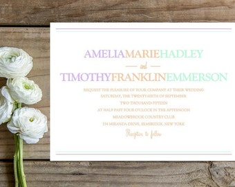 Simple, Colorful Wedding Invitation - Peach Wedding Invitation - Modern Wedding Invitation
