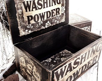 Large Wood Box Vintage Label Laundry Snow Boy Washing Powder Graphic ooak Worn Sepia Vintage Up-cycled OOAK Kim Kohler Primitive Original