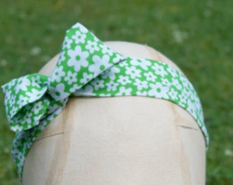 Summery bright green floral wired head band - wired wrap perfect for your holidays!