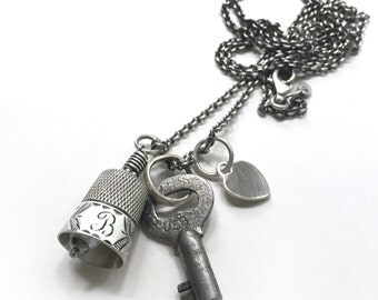 Antique Sterling Thimble Bell Thimbell Pearl Heart Charm Skeleton Key Sewing Quilting B Necklace 34 inch Long Sterling Cable Chain