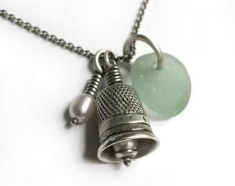 Freshwater Pearls Seaglass Antique Sterling Thimble Bell Thimbell Charm Sewing Quilting Necklace 34 inch Long Sterling Cable Chain