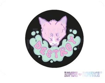 DESTROY Cat Vinyl Sticker