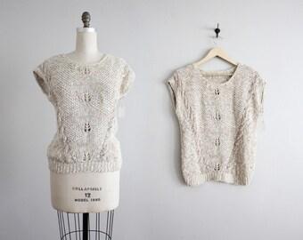 silk & linen sweater / pullover sweater / short sleeve sweater