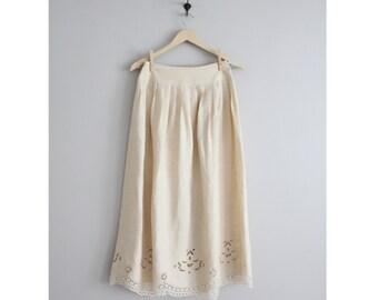cream linen skirt / openwork skirt / linen lace skirt
