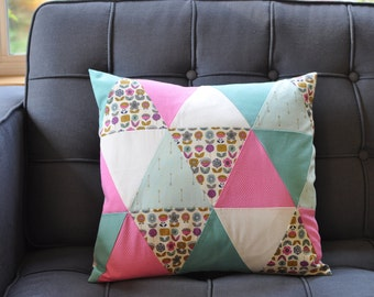 Triangle Patchwork Pillow Cover - Flowers and Arrows